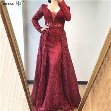 Party-Gown Evening-Dress Crystal Dubai Serene Hill Flowers-Design Burgundy Formal Plus-Size