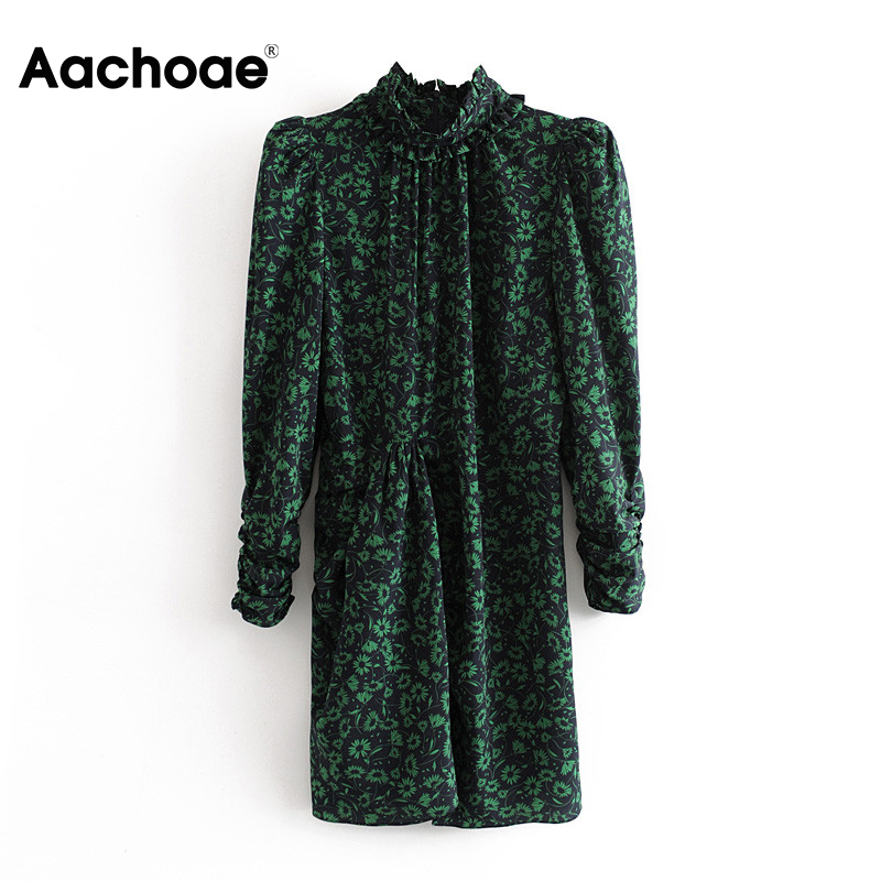 Women Vintage Floral Print Pleated Dress 2020 Spring Fashion Puff Long Sleeve Bodycon Dress Female High Collar Sexy Mini Dresses