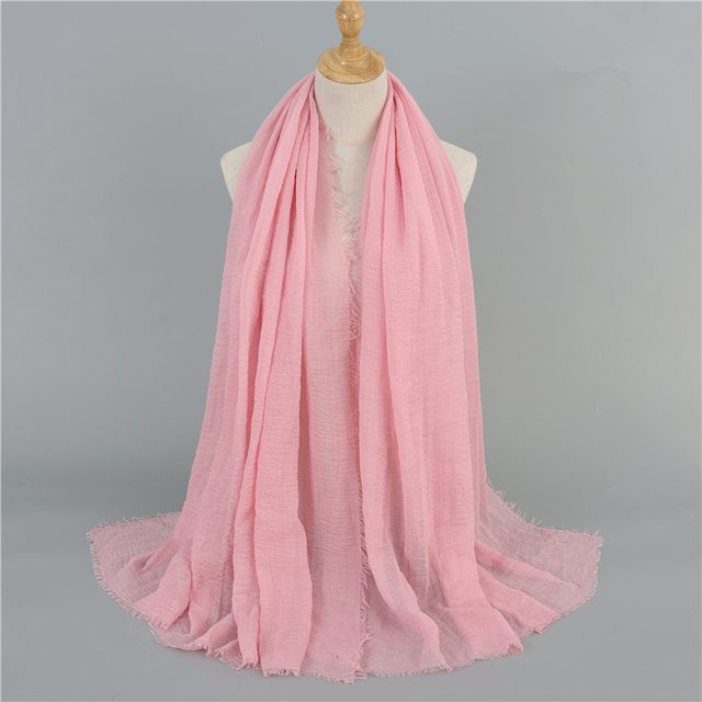 2020 cotton Scarf Crinkle Women Soft Solid muslim Hijabs Muffler Shawls Pashmina Wrap Hijab Scarves Headscarf Turban shawls wrap 10