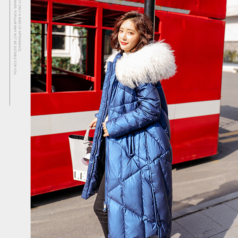 Image 5 - FTLZZ 2020 Winter Jacket Women 90% White Duck Down Coats Large  Fur Collar Loose Parkas Outerwear Thick Waterproof JacketsDown Coats