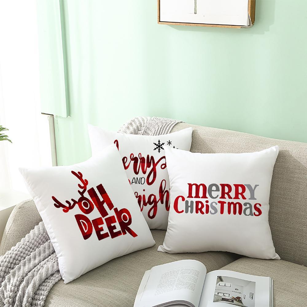 45x45cm Cartoon Weihnachtsmann Elch Weihnachten Kissenbezug - Partyartikel und Dekoration - Foto 5