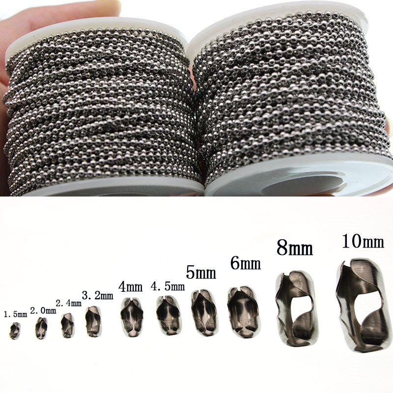 1.5 2.0 2.4 3.2 4 6 8 10mm Beaded Ball Stainless Steel Bulk Ball Bead Chains & Connector Clasp For DIY Necklace Jewelry Making