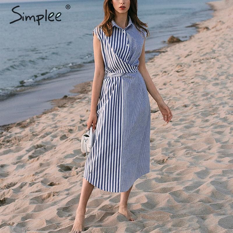 Simplee Patchwork Striped Women Shirt Dress Summer Casual Beach Wear Female Dress Elegant Button Bohemian Ladies Long Dress 2020