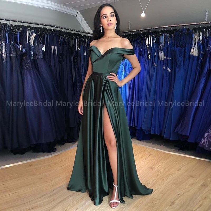 Off Shoulder Long Evening Dresses Front Split Sexy Prom Gowns Dark Green Abendkleider Women Evening Dress Party Gowns Cheapest