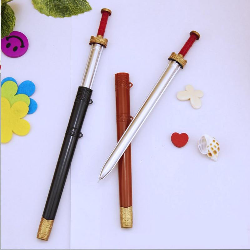Novelty Plasti Weapon Sword Gel Pens For Writing Kids Funny Toys Pen 0.5mm Black Ink Pen Cute Stationery Gift School Supplies