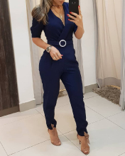 2020 Women Sexy Stylish Romper Female Club Party Jumpsuits Solid V Neck Half Sleeve Jumpsuit stylish v neck long sleeve blue denim women s jumpsuit