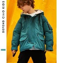 Модные детские зимние куртки в Корейском стиле теплое пальто на утином пуху детская пуховая куртка с капюшоном для мальчиков с вышитыми буквами
