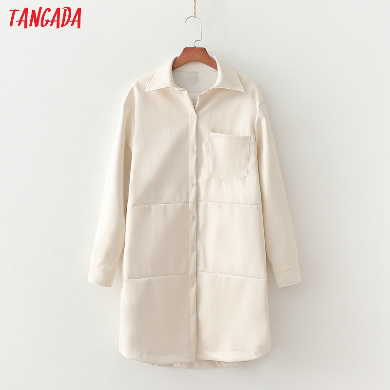 Tangada Women White Faux Leather Jacket Coat 2020 Spring Fashion Long Sleeve Loose Oversize Boy Friend Female Coat 1D209