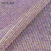 JUNAO 24*40cm Hotfix di Cristallo di Vetro AB Strass Disposizione Della Maglia Tessuto di Cristallo Copriletto Strass Appliques Fascia Per Il FAI DA TE vestito di gioielli