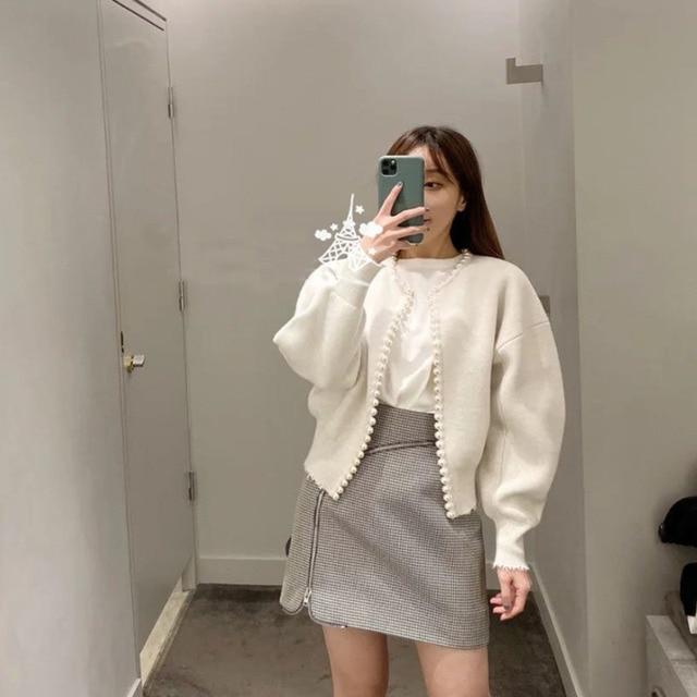 2020 nouvelle mode vestes coréennes perles Cardigan manches chauve-souris laine tricot Vintage femmes manteau de haute qualité veste AQ927 3