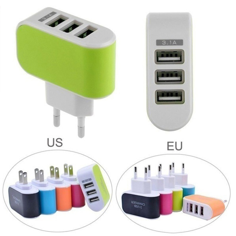<font><b>AC</b></font> <font><b>DC</b></font> 5V 1A Universal Power Adapter <font><b>3</b></font> USB Port Mobile phone charger 5V USB Power Adapter Supply 220V To 5 <font><b>V</b></font> For Phone Charger image