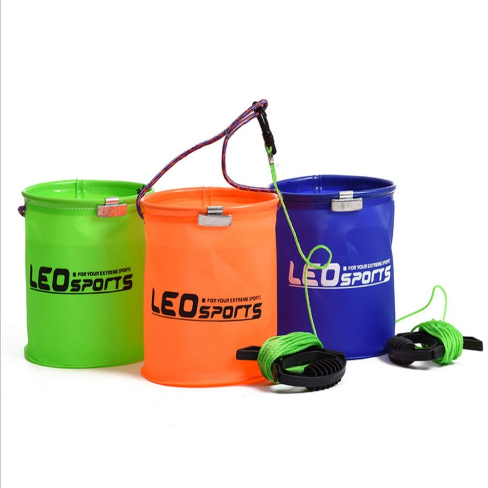 LEO 3 Color Portable Folding EVA Bucket 17 X 17cm Live Fish Water Storage Tools Fly Carp Fishing Accessories Tackle