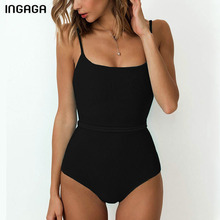 INGAGA Sexy One Piece Swimsuit 2021 Black Swimwear Women Backless Bathing Suit Bandage Swimming Suit for Women Belted Swim Wear