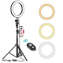 8 LED self-timer ring light, dimmable beauty light with tripod stand and mobile phone holder, 80 bulbs, remote control