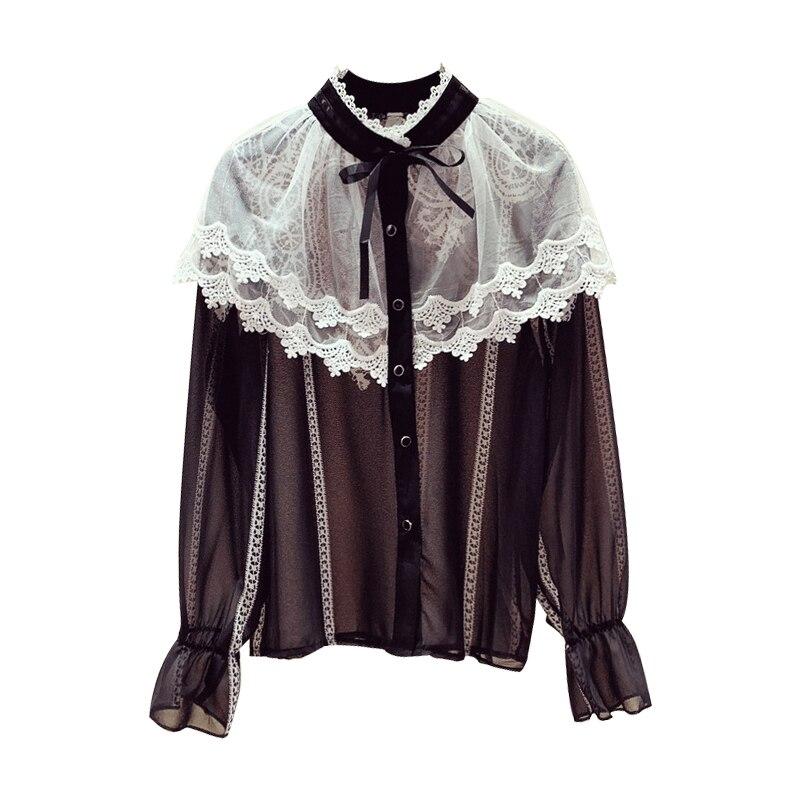 2019 nouveau Streetwear femmes automne hiver Blouse en mousseline de soie à volants chemise dentelle couture nœud papillon à manches longues petit haut