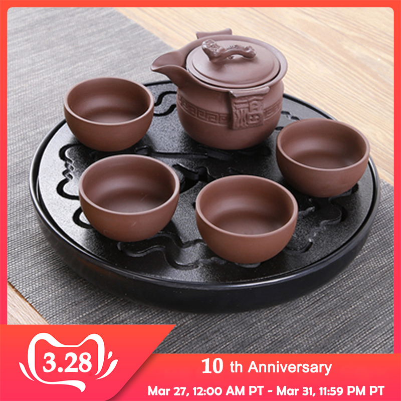 Kung Fu Simple Tea Tray Drainage Water Kung Fu Tea Set Suite Dining Table Black/White Chinese Tea Cup Ceremony Tools Tea Set