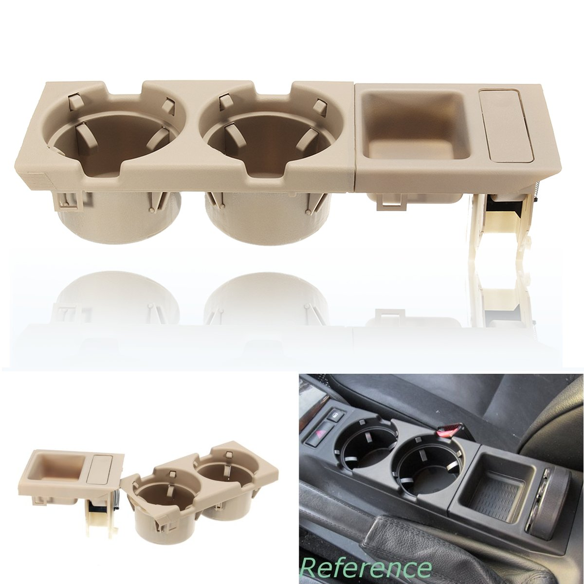 New Beige Double Hole Car Vehicle Front Center Console Storage Box Coin + Cup Holder for BMW E46 3SERIES 1998-2006 51168217953