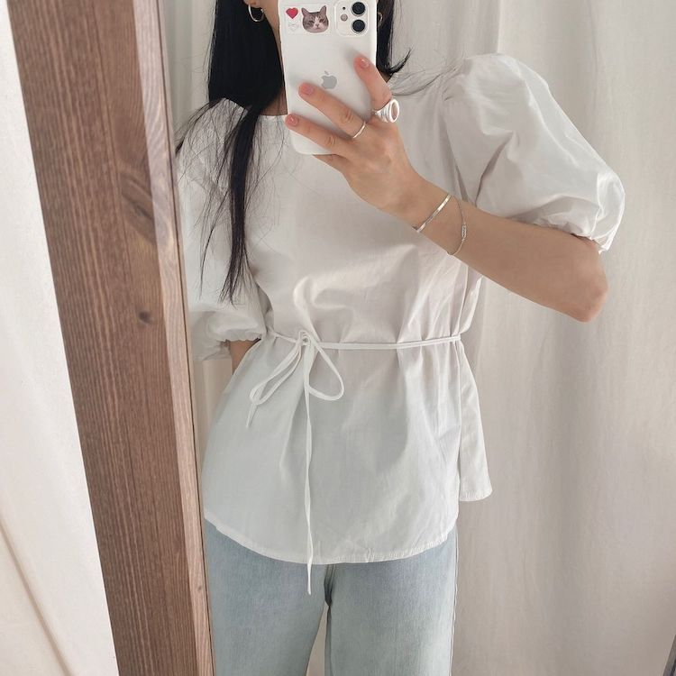 Hb7d6cf7d86be4081ba1439525a68c3d2j - Summer O-Neck Short Puff Sleeves Cotton Lace-Up Solid Blouse