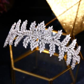 Jankelly Fashion Ladies stroiki ślubne z kostką cyrkon hurtownia ślubne akcesoria do włosów stroik ślubne na włosy tiary tanie i dobre opinie JaneKelly Miedzi Moda Kryształ Kobiety TRENDY Hairwear jk-86520 PLANT Platinum Plated