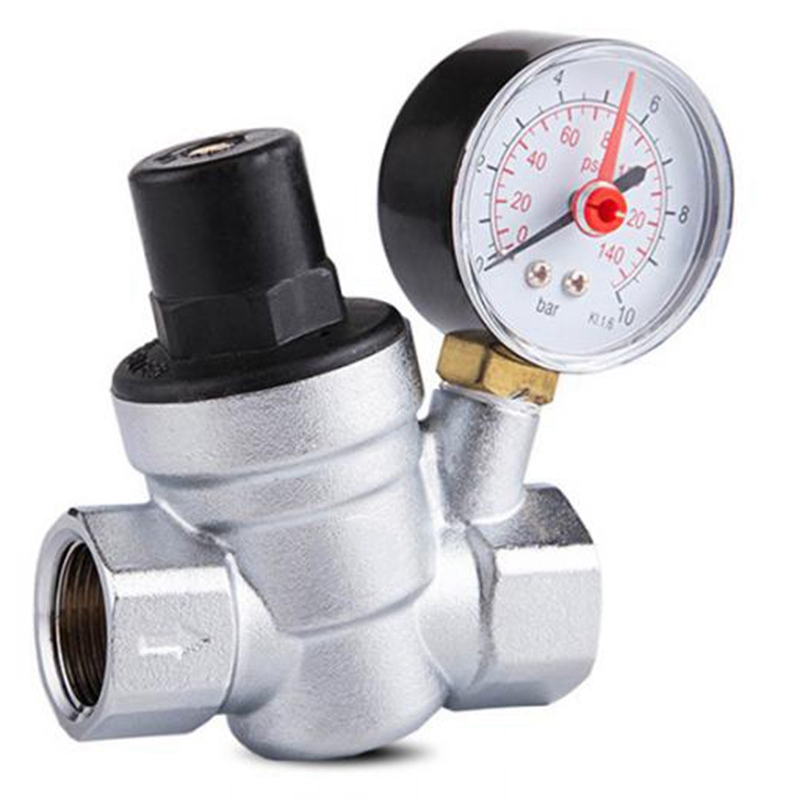 1/2 Inch Water Pressure Regulator With Gauge Pressure Maintaining Valve Tap Water Pressure Reducing Valve DN15