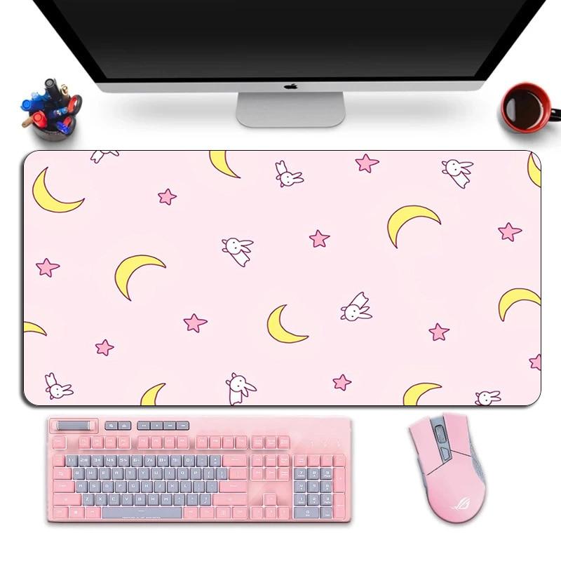 Grande Anime rosa Mousepad Gamer simpatico tappetino per Mouse da gioco Kawaii XL gomma Otaku bordo di bloccaggio grande moda Laptop Notebook scrivania Mat