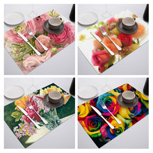 Coffee Tea Place Mat Linen Ramadan Dining Table Place mat Tableware Fiber Pad Coaster Happy Eid Party Supplies Table Place mats