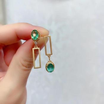 925 sterling silver real Natural green Emerald Stud Earrings fine Jewelry gift women wedding plant new 3*5mm jce0305882agml