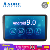 A Sure 2 Din 7'' Android 9.0 Car Radio Player GPS Navigation For Volkswagen VW Polo T5 Passat b6 Tiguan Golf 5 6 Caddy SKODA