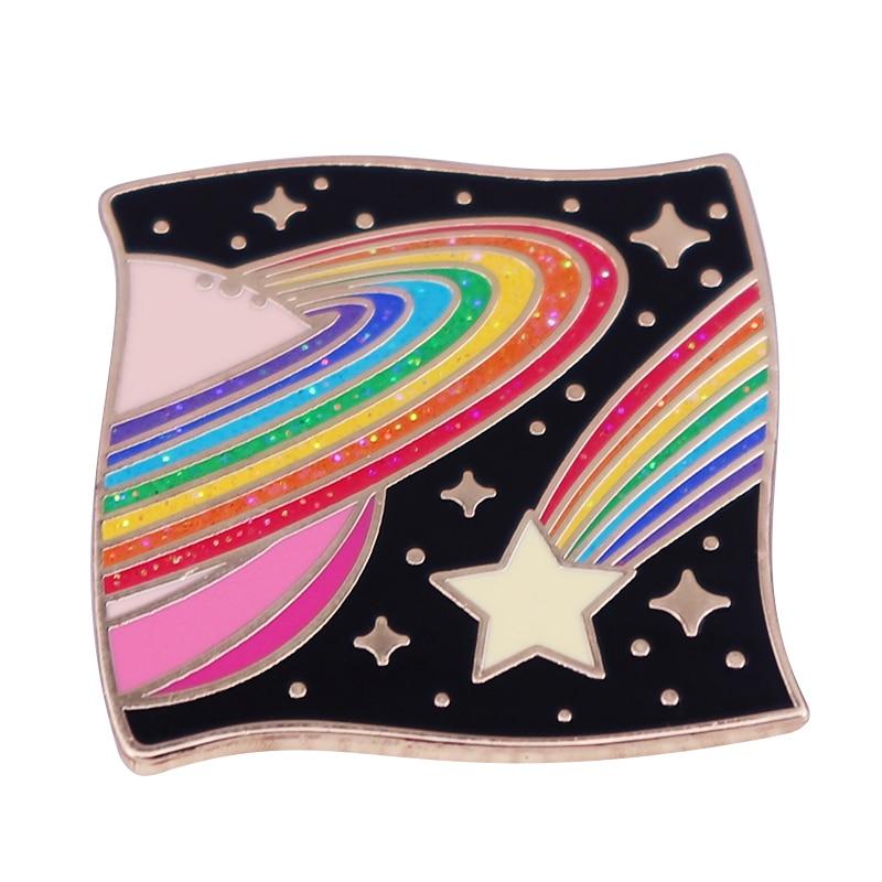 Эмалированная брошь Kawaii, радужная брошь в форме космоса, галактики, звездного неба, подарок на день Святого Валентина