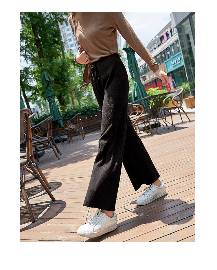 2019 autumn winter new THICK casual straight pants women female drawstring loose knitted wide leg pants casual Trousers 17