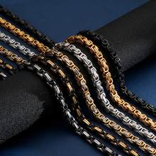 Corrente royal box para homens, 4/5/6/8mm, colar masculino, de aço inoxidável, longo presente do namorado personalizado de joias