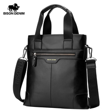 BISON DENIM Genuine Leather Handbag Men Business Messenger Bag iPad cow leather Shoulder Bag Crossbody Male bags N2202