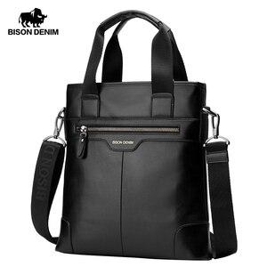 Image 1 - BISON DENIM torebka ze skóry naturalnej biznesowa torba męska listonoszka iPad skórzana torba na ramię Crossbody męskie torby N2202