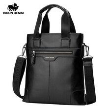 Мужская деловая сумка мессенджер BISON DENIM из натуральной кожи, сумка через плечо из коровьей кожи для iPad, N2202