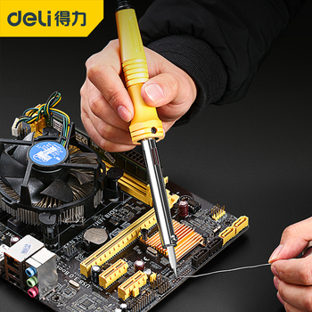 DELI 220V EU Adjustable Temperature Electric Soldering Iron Set Soldering Kit Welding Solder Iron Rework Station Repair Tool 35w 220v temperature electric soldering iron welding solder rework station heat tips repair dual power wire tool us plug cable