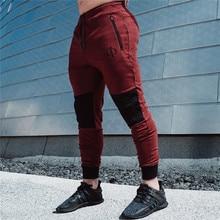 ICPANS Zip GYMS Pacthwork Fitness Joggers Men Pant  Pencil Pants Sweatpants Workout Bodybuilding Clothing Casual