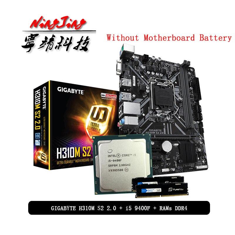 Intel Core i5 9400F CPU + Gigabyte GA H310M S2 2.0 anakart + Pumeitou DDR4 8G 16G 2666MHz RAMs takım elbise LGA 1151 olmadan soğutucu