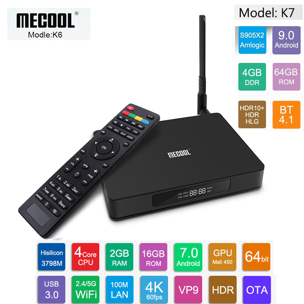 MECOOL K7 K6 DVB S2 - T2 - C Android 7.0 TV Box 2GB RAM 16GB ROM Quad Core 2.4G + 5G WiFi USB3.0 100Mbps 4K Media Player