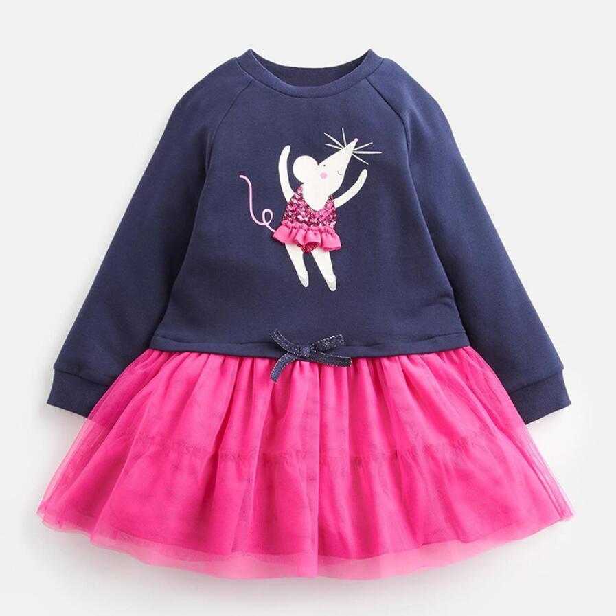 Little maven kids girls brand 2021 autumn baby girls clothes Cotton toddler girl party dress animal print striped tutu dresses 1