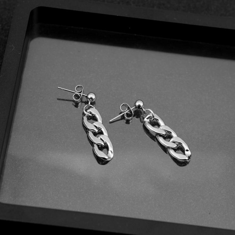 Simple KPOP Korean Star Big small Stud Earrings Chain Fashion Stainless steel Jewelry