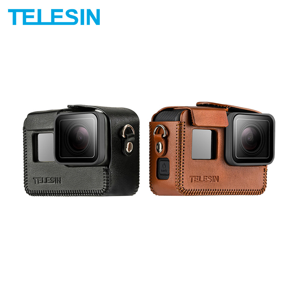 TELESIN PU Leather Case For GoPro Hero 8 For Hero 5 6 7 Black Frame Cover Mini Protector Black Brown With Long Strap Accessories