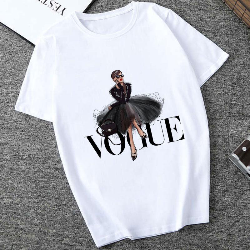 Poleras Mujer De Moda 2019 Summer T Shirt Women Vogue Letter Print Vogue Harajuku T Shirt Plus Size Punk T-shirt Camiseta Mujer
