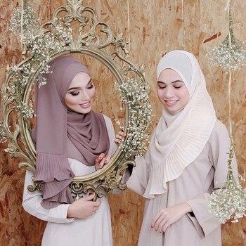 Moderna bufanda de gasa con perlas para mujer, hijab musulmán arrugado, pañuelo para la cabeza musulmán, bufandas islámicas para la cabeza