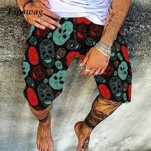 Vintage Skull Print Men Cotton Linen Shorts Casual Loose Drawstring Beach Short Pant For Male 2021 Summer Fashion Streetwear 4XL