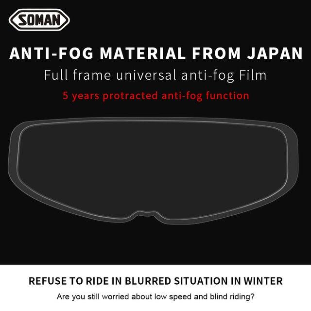 SOMAN Winter Anti Fog motorcycle helmet Films Universal Antifogging Patch Lens Film High Clear for Visor Helmets Accessorie AV04