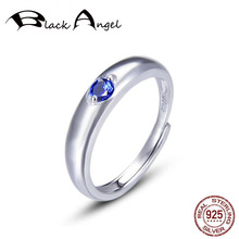 Fashion Genuine 925 Sterling Silver Sapphire Crystal Rings for Bride Adjustable Wedding CZ Women Fine Jewelry