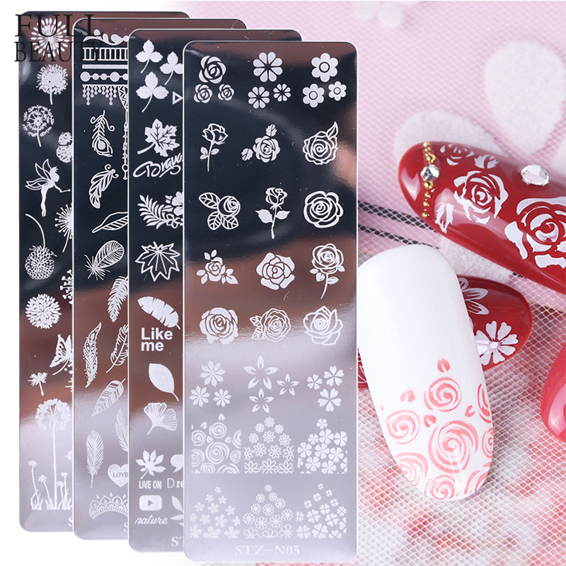 Rose Leaves Nail Stamping Plate Spring Flower Leaf Jewelry Image Geometric Polish Stencil Nail Art Template Mold CHSTZN01-12-1