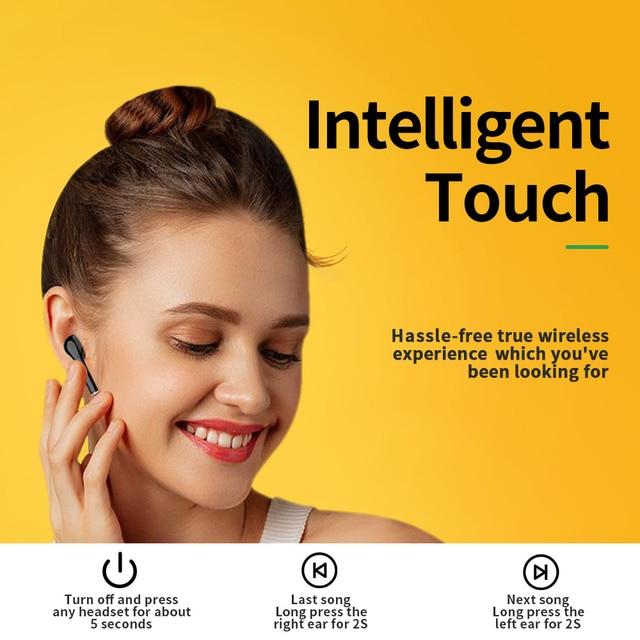 TOMKAS Freebud TWS Wireless Bluetooth Earphones 5.0 True Wireless Earbuds Headset Stereo Bluetooth Headphones with Mic for Phone 5