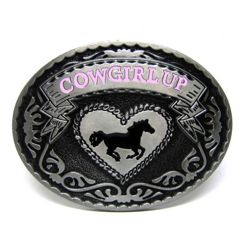 Western Cowgirls Belts Accessories Oval Pink Horse Cowgirl Up Metal Belt Buckle Retail Wholesale Custom Cowgirl Buckle