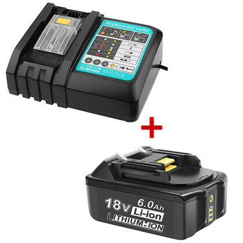 For Makita 18v 6AH 6000mAh Li-Ion Rechargeable Replacement Power Tools Battery + DC18RC 3A Charger for Makita BL1860 BL1830 Cell